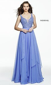 Sherri Hill V-Neck Long Prom Dress