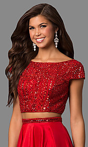 Image of two-piece Sherri Hill prom dress with cap sleeves. Style: SH-50802 Detail Image 1