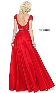 Image of two-piece Sherri Hill prom dress with cap sleeves. Style: SH-50802 Back Image