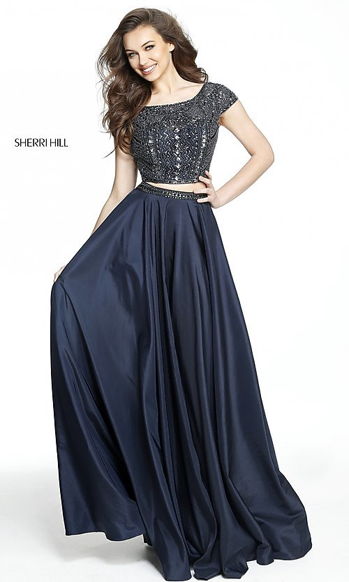 Image of two-piece Sherri Hill prom dress with cap sleeves. Style: SH-50802 Detail Image 3