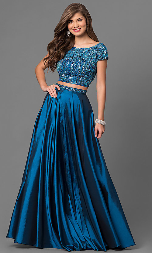 Image of two-piece Sherri Hill prom dress with cap sleeves. Style: SH-50802 Detail Image 2