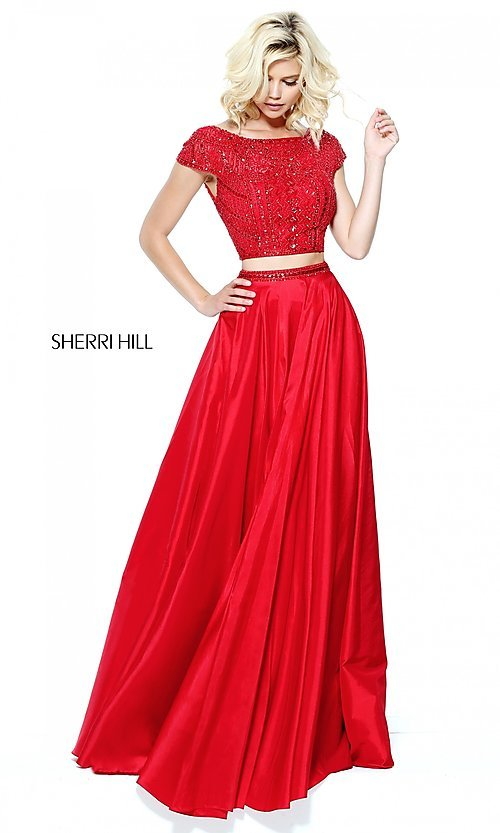 Image of two-piece Sherri Hill prom dress with cap sleeves. Style: SH-50802 Front Image