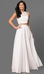 Image of Sherri Hill two-piece long prom dress with lace top. Style: SH-50803 Detail Image 2