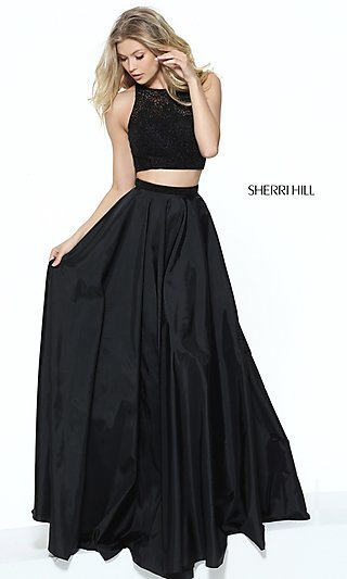 Sherri Hill Two-Piece Long Prom Dress with Lace Top