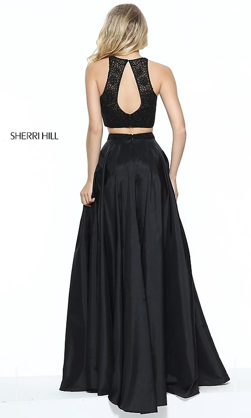 Image of Sherri Hill two-piece long prom dress with lace top. Style: SH-50803 Back Image