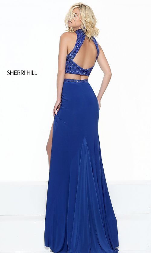 Image of Sherri Hill open-back prom dress with beaded top.  Style: SH-50804 Back Image