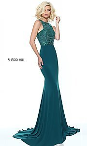 Image of beaded-bodice Sherri Hill prom dress with racerback. Style: SH-50806 Front Image