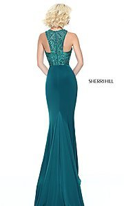 Image of beaded-bodice Sherri Hill prom dress with racerback. Style: SH-50806 Back Image