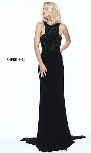 Beaded-Bodice Sherri Hill Prom Dress with Racerback