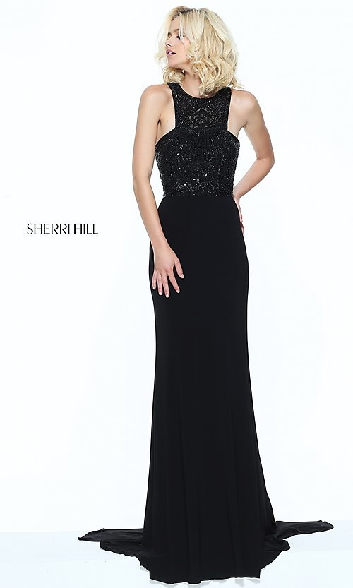 Image of beaded-bodice Sherri Hill prom dress with racerback. Style: SH-50806 Detail Image 2