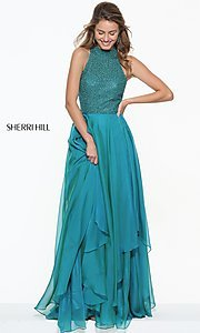 Image of Sherri Hill high-neck prom dress with beaded bodice. Style: SH-50808 Detail Image 2