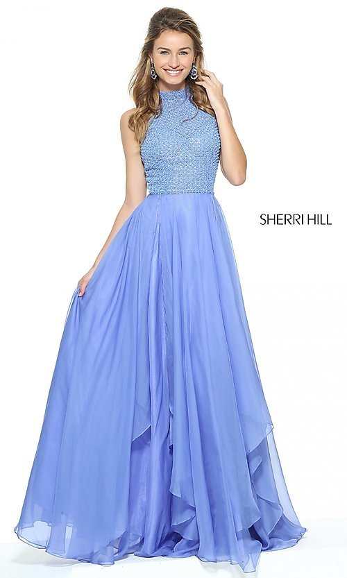 Image of Sherri Hill high-neck prom dress with beaded bodice. Style: SH-50808 Detail Image 1