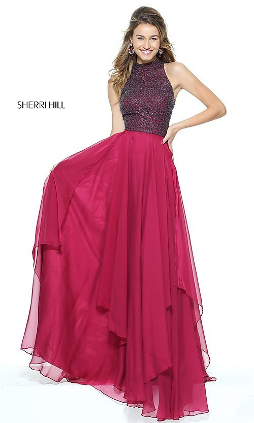 Image of Sherri Hill high-neck prom dress with beaded bodice. Style: SH-50808 Front Image