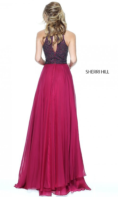 Image of Sherri Hill high-neck prom dress with beaded bodice. Style: SH-50808 Back Image