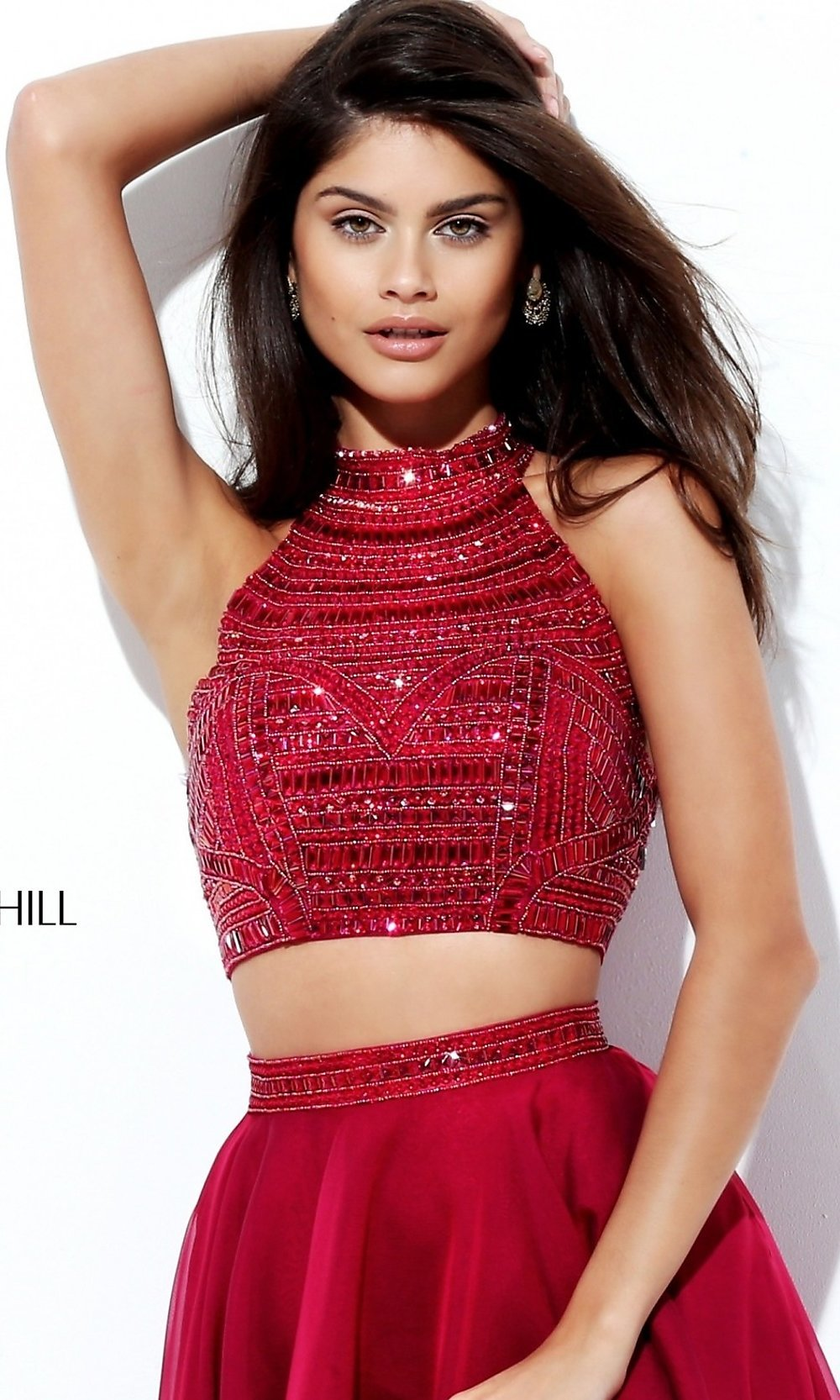 Two-Piece High-Neck Sherri Hill Prom Dress -PromGirl