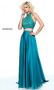 Image of high-neck Sherri Hill two-piece prom dress. Style: SH-50809 Front Image