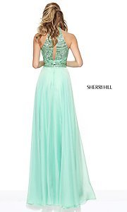 Image of high-neck Sherri Hill two-piece prom dress. Style: SH-50809 Back Image