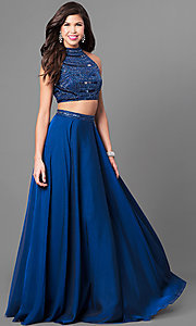 High-Neck Sherri Hill Two-Piece Prom Dress