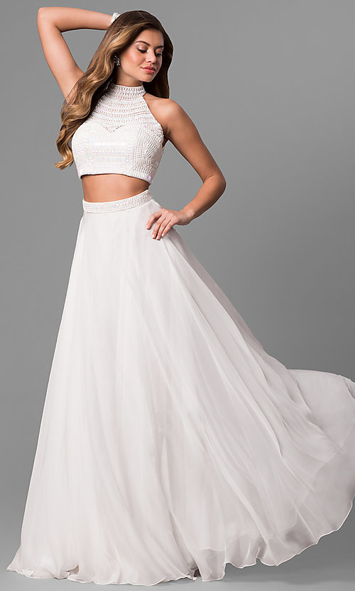 Image of high-neck Sherri Hill two-piece prom dress. Style: SH-50809 Detail Image 5