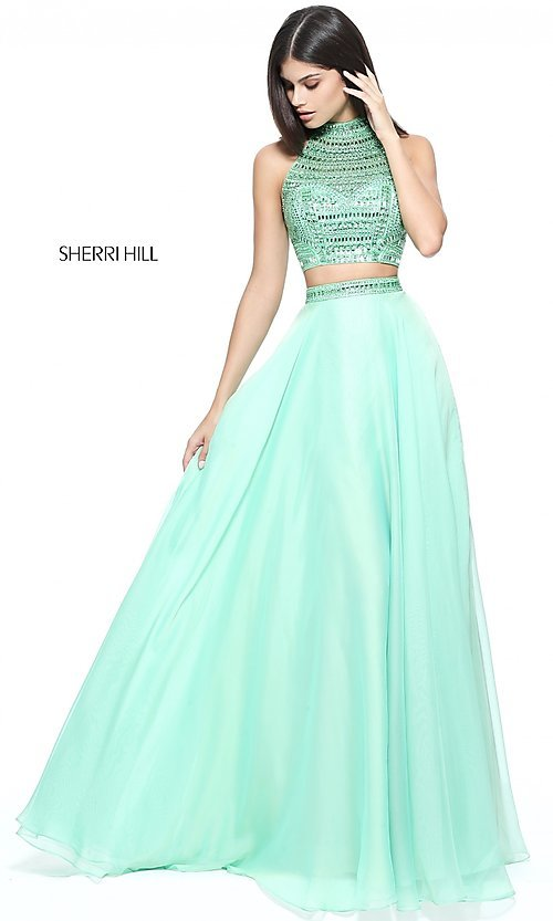 Image of high-neck Sherri Hill two-piece prom dress. Style: SH-50809 Detail Image 1
