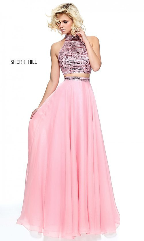 Image of high-neck Sherri Hill two-piece prom dress. Style: SH-50809 Detail Image 4