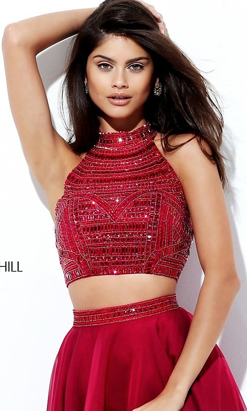 Image of high-neck Sherri Hill two-piece prom dress. Style: SH-50809 Detail Image 2