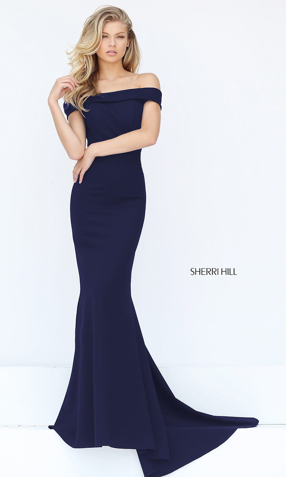 Emerald Red Black Navy. Long Off-the-Shoulder Sherri Hill Prom Dress d8de89d9e