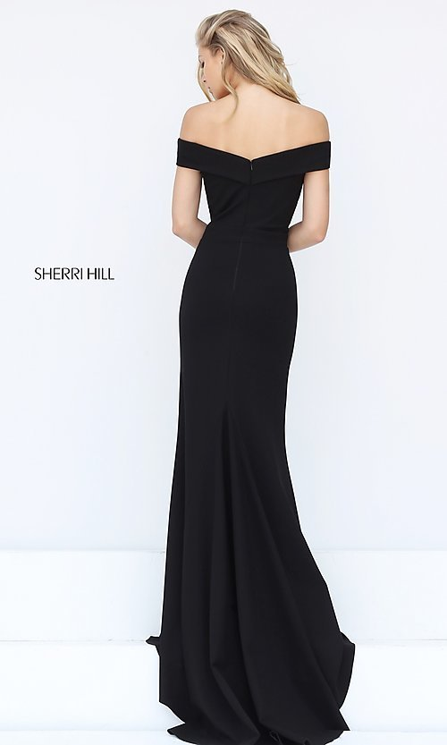 Image of long off-the-shoulder Sherri Hill prom dress. Style: SH-50824 Back Image