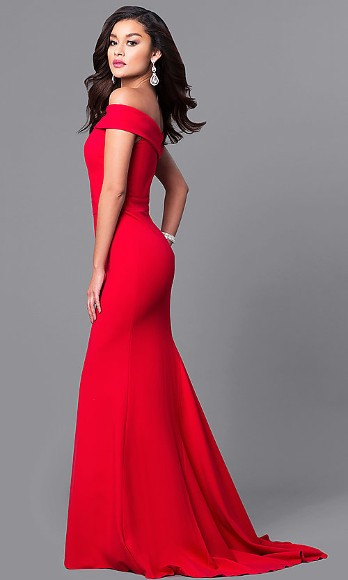 Image of long off-the-shoulder Sherri Hill prom dress. Style: SH-50824 Detail Image 1