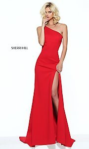 Image of one-shoulder long prom dress by Sherri Hill. Style: SH-50861 Front Image