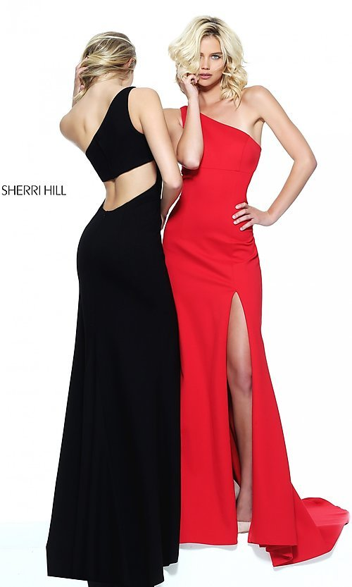 Image of one-shoulder long prom dress by Sherri Hill. Style: SH-50861 Detail Image 2