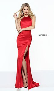 Sherri Hill High-Neck Long Prom Dress with Side Slit