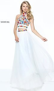 Ivory and Multi Two-Piece Prom Dress