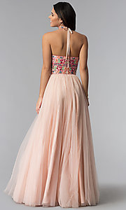 Image of strapless Sherri Hill prom dress with embroidery. Style: SH-50873 Back Image