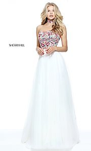 Strapless Sherri Hill Prom Dress with Embroidery