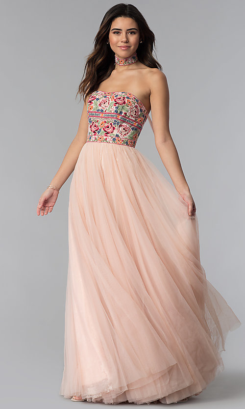 Image of strapless Sherri Hill prom dress with embroidery. Style: SH-50873 Front Image