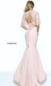 Image of mermaid Sherri Hill two-piece prom dress with lace. Style: SH-50877 Back Image