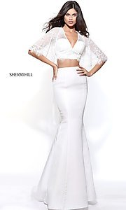 Image of mermaid Sherri Hill two-piece prom dress with lace. Style: SH-50877 Detail Image 1
