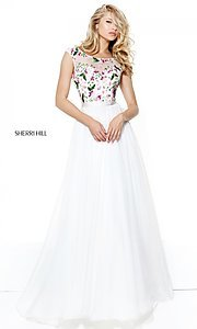 Ivory Prom Dress with Embroidered Bodice