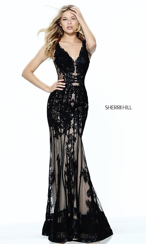 Image of v-neck lace-embroidered illusion long prom dress.  Style: SH-50906 Front Image