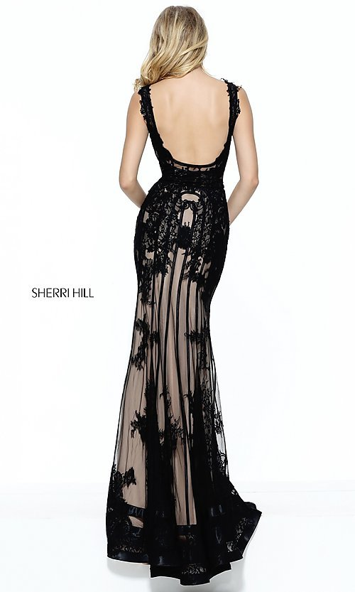 Image of v-neck lace-embroidered illusion long prom dress.  Style: SH-50906 Back Image