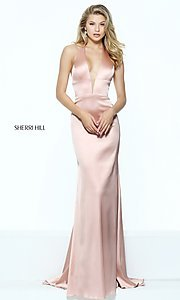 Sherri Hill Halter Long Prom Dress with Low V-Neck