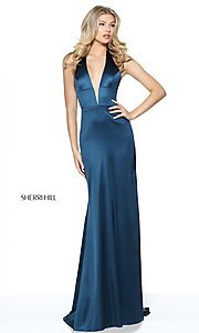 Image of Sherri Hill halter long prom dress with low v-neck. Style: SH-50919 Detail Image 2