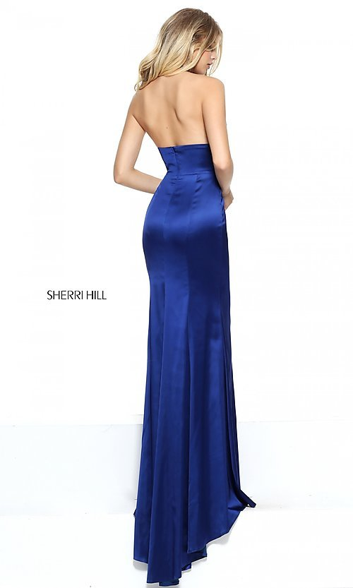Image of Sherri Hill halter long prom dress with low v-neck. Style: SH-50919 Back Image