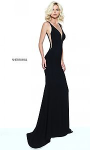 Image of Sherri Hill low v-neck prom dress with sheer panels. Style: SH-50940 Back Image