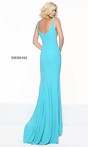 Image of Sherri Hill low v-neck prom dress with sheer panels. Style: SH-50940 Front Image