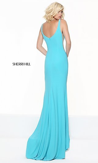 Sherri Hill Low V-Neck Prom Dress with Sheer Panels