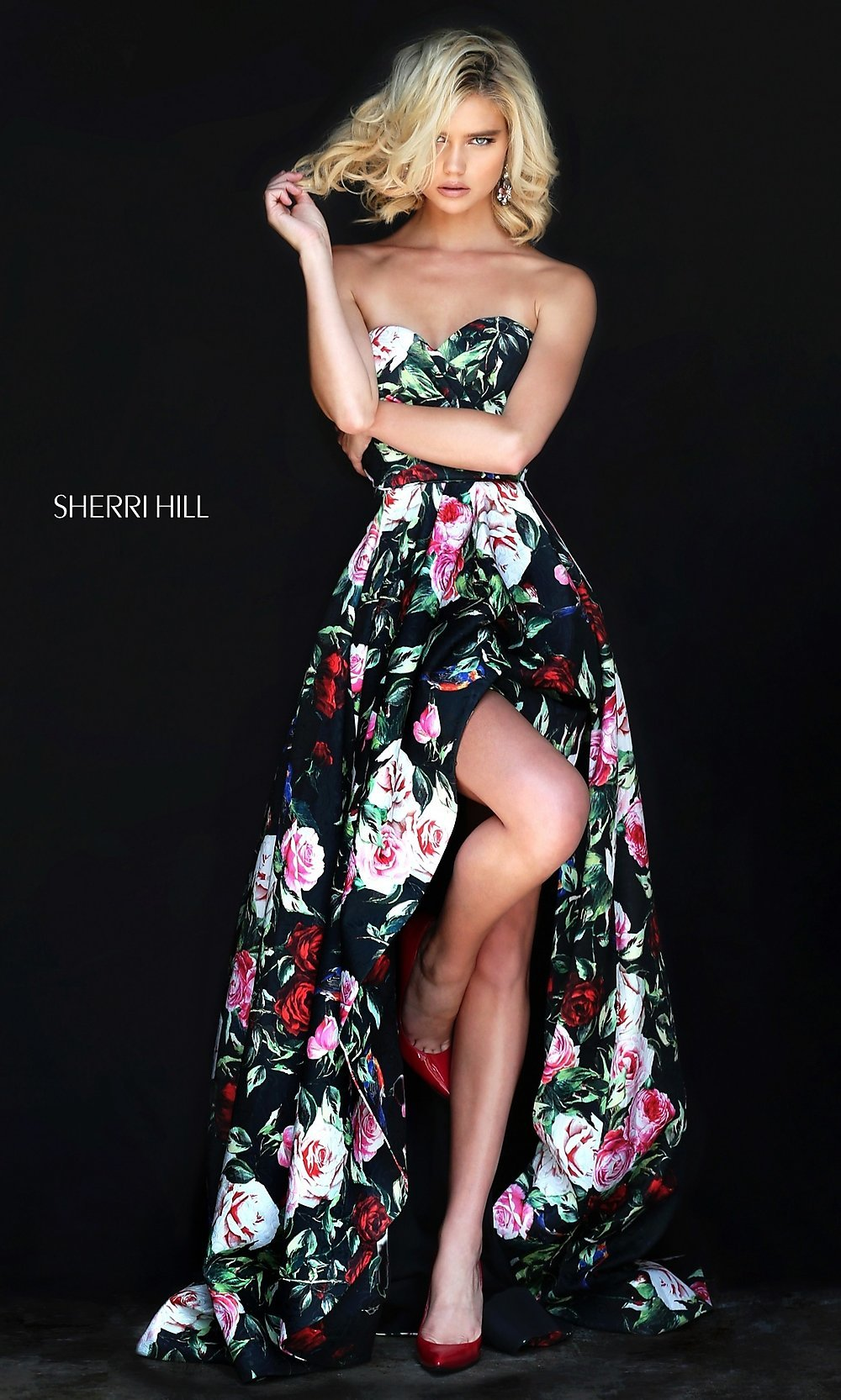 Sherri Hill High Low Floral Prom Dress Promgirl