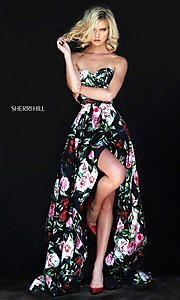 Black High-Low Prom Dress with Multi-Color Print