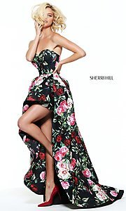 Image of black high-low prom dress with multi-color print.  Style: SH-50963 Detail Image 1